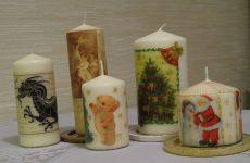 Как делать декупаж свечей